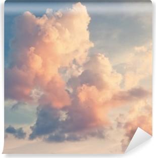 Abwaschbare Fototapete Rosa Wolken auf blauem Himmel