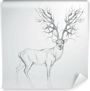 Abwaschbare Fototapete Rotwild mit Geweih wie Baum / Realistische Skizze