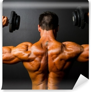 Abwaschbare Fototapete Rückansicht Bodybuilder Training mit Hanteln