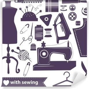 Abwaschbare Fototapete Sewing bezogene Elemente auf weißem