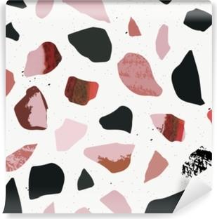 Abwaschbare Fototapete Terrazzo nahtlose Muster. texturierte Formen. Pastellfarben und Schwarz. Marmor.