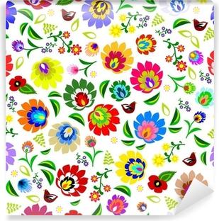 Abwaschbare Fototapete Traditionelle polnische Volks wiederholende Blumenmuster Vektor-
