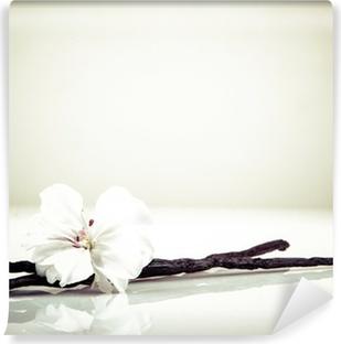 Abwaschbare Fototapete Vanilleschote und Blumen