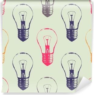 Abwaschbare Fototapete Vektor Grunge nahtlose Muster mit Glühbirnen. Moderne Hipster Skizze Stil. Idee und kreatives Denken Konzept.