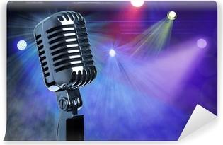 Abwaschbare Fototapete Vintage-Mikrofon auf der Bühne