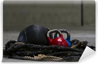 Abwaschbare Fototapete Wasserkocher Glocken, Seil und einem Medizinball für crossfit verwendet