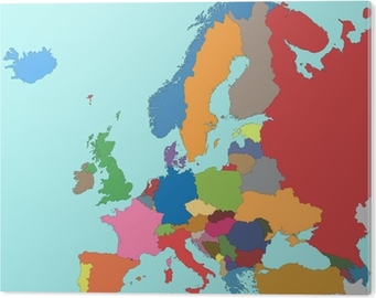 Colorful map of Europe Canvas Print • Pixers® • We live to change
