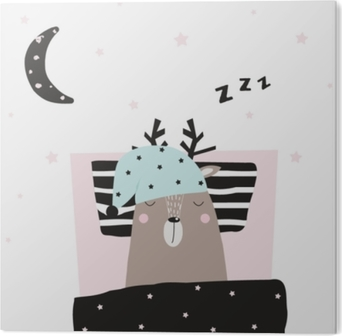 Funny deer asleep in his bed. Vector hand drawn illustration. Acrylic Print