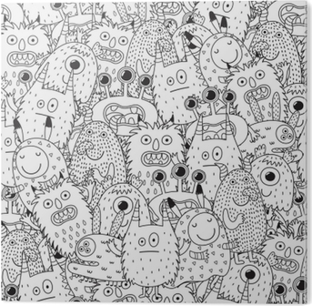 Funny Monsters Seamless Pattern For Coloring Book Black And White