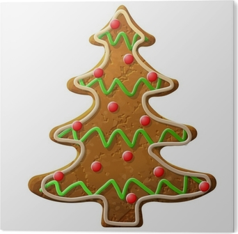 Gingerbread christmas tree decorated colored icing Wall Decal • Pixers® • We live to change