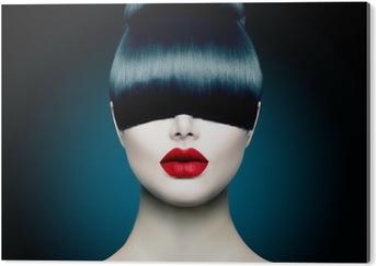 High Fashion Model Girl Portrait with Trendy Fringe Acrylic Print