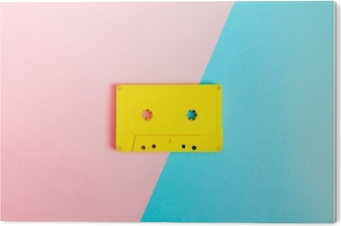 Retro cassette tapes on bright background Acrylic Print