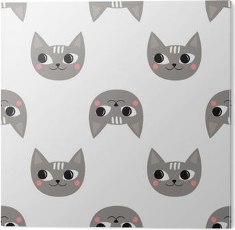 Seamless Pattern Cute Cats For Kids Holidays Baby Shower Vector Background Child Drawing Style