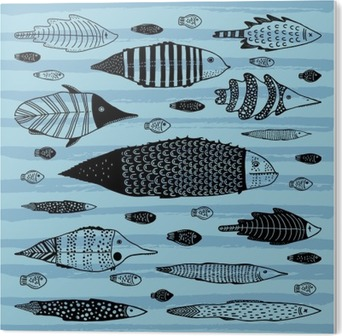 Set of funny fishes. Acrylic Print