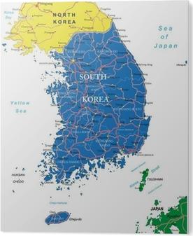South Korea Map Canvas Print Pixers We Live To Change