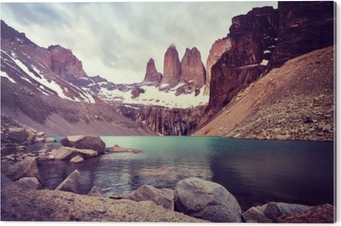Torres del Paine National Park, color toned picture, Patagonia, Chile. Acrylic Print
