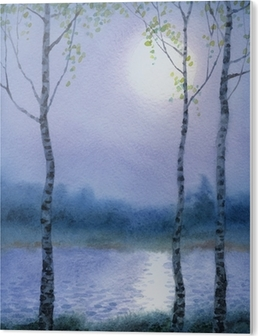 Watercolor Landscape Spring Birch Trees Near The River Canvas Print Pixers We Live To Change