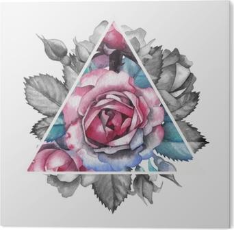 Watercolor rose vignette Acrylic Print