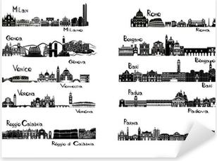 Adesivo Pixerstick 10 città d'Italia - signts silhouette