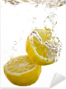 Adesivo Pixerstick 2 tempi di limone cadere in acqua e fare le bolle