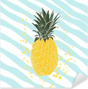 Adesivo Pixerstick A mano ananas. Vector background