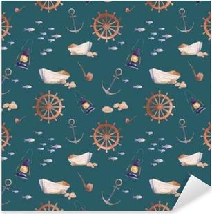 Adesivo Pixerstick Acquarello modello nautico senza saldatura. Trama disegnata a mano fumetto con elementi di mare: vecchia barca, ancora, pesci, tubo di fumo, lanterna, ruota. Disegno di carta da parati su sfondo verde smeraldo.