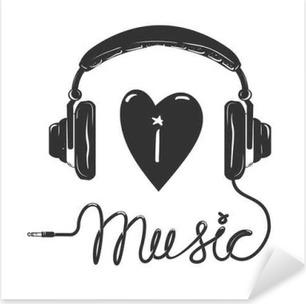 Adesivo Pixerstick Amo la musica. Cuffie con testo isolato su sfondo  bianco. Elemento di a36bd47aa6f2