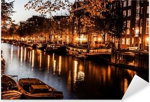 Adesivo Pixerstick Amsterdam di notte, Paesi Bassi