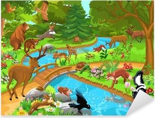Adesivo Pixerstick Animali selvatici che vivono nella foresta