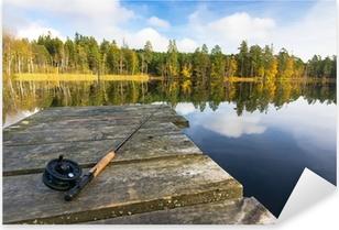 Adesivo Pixerstick Autunno pesca a mosca nel lago