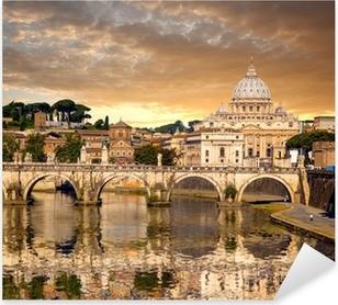Adesivo Pixerstick Basilica di San Pietro con ponte in Vaticano, Roma, Italia