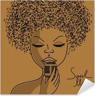 Adesivo Pixerstick Cantante silhouette con i capelli note musicali