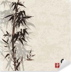 Adesivo Pixerstick Card con bambù su sfondo d'epoca in stile sumi-e. Disegnati a mano con inchiostro. Contiene geroglifico - felicità, fortuna
