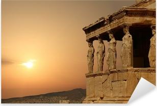 Adesivo Pixerstick Cariatidi sulla Acropoli di Atene al tramonto, la Grecia