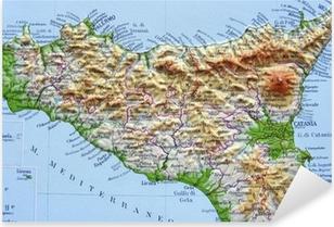 Cartina Dettagliata Sicilia Orientale.Poster Carta Geografica Della Sicilia Pixers Viviamo Per Il Cambiamento