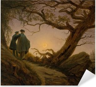 Adesivo Pixerstick Caspar David Friedrich - Due uomini intenti a contemplare la luna