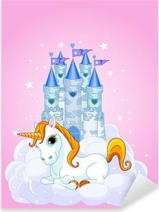 Adesivo Pixerstick Castello e Unicorn