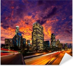 Adesivo Pixerstick Downtown LA notte di Los Angeles skyline tramonto California