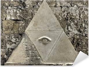 Adesivo Pixerstick Eye of Providence simbolo inciso in pietra calcarea