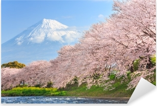 Adesivo Pixerstick Fiori di ciliegio o sakura e montagna fuji sullo sfondo