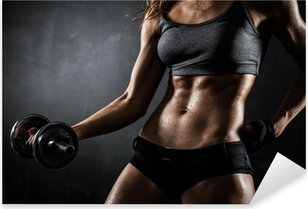 Adesivo Pixerstick Fitness con manubri