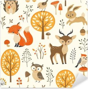 Adesivo Pixerstick Foresta di autunno seamless con simpatici animali
