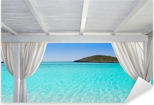 Adesivo Pixerstick Gazebo bianco a Formentera Ibiza spiaggia
