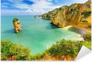 Adesivo Pixerstick Idilliaco paesaggio spiaggia a Lagos, Algarve (Portogallo)