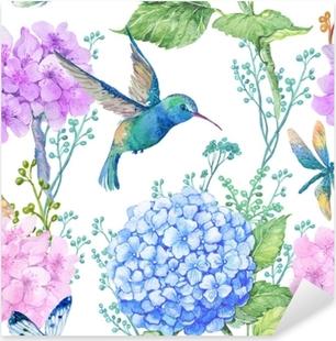 Adesivo Pixerstick Illustrazione del modello senza soluzione di continuità in acquerello, modello, ornamento di design.wallpaper tessile, acquerello fiori di ortensia e libellule e piccolo colibrì blu