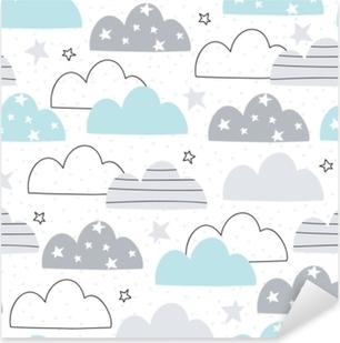 Adesivo Pixerstick Illustrazione di vettore del reticolo senza giunte delle nubi
