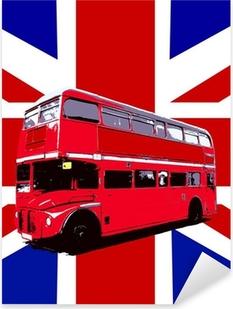 Adesivo Pixerstick London Bus Con Regno Unito Bandiera