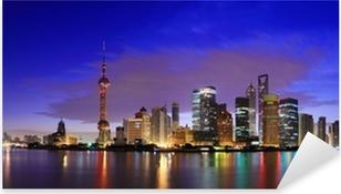 Adesivo Pixerstick Lujiazui Finance & Trade Zone di Shanghai landmark orizzonte all'alba