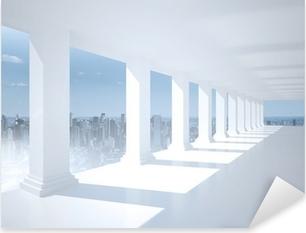 Adesivo Pixerstick Luminosa sala bianca con colonne