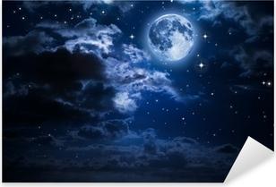 Adesivo Pixerstick Luna e le nuvole nella notte